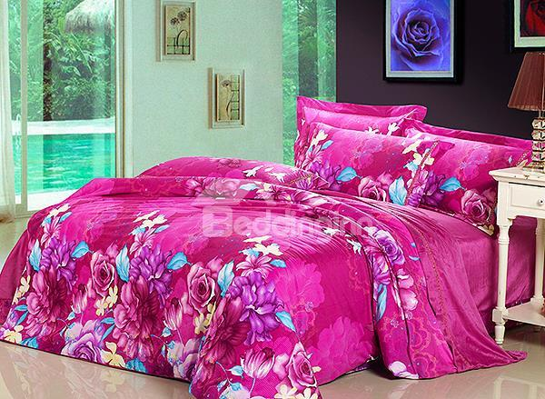 Luxury Flowr Print 4-Piece Flannel Duvet Cover Sets