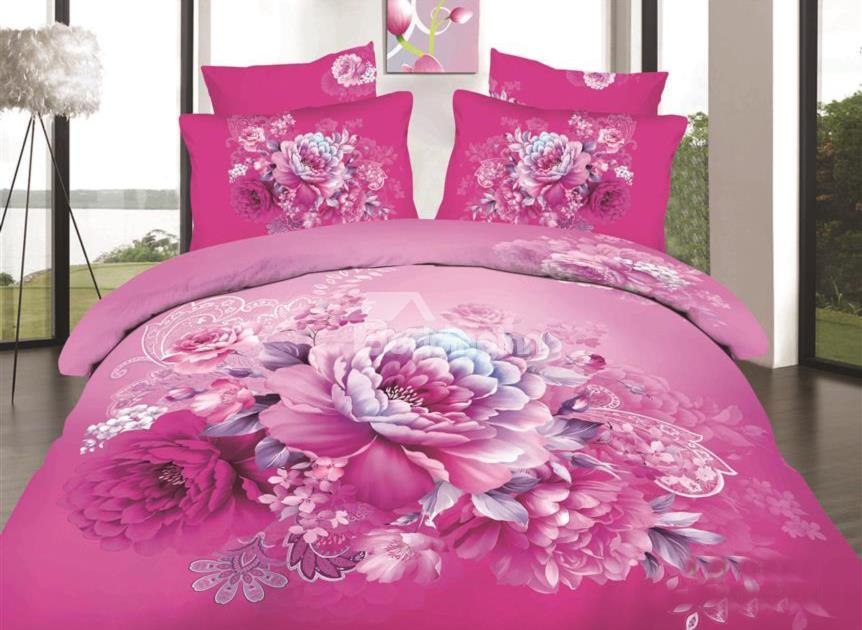 Pink Peony Print 4-Piece Cotton Duvet Cover Sets