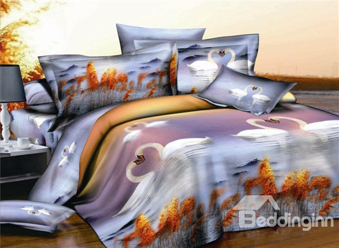 Fantastic 4 Piece Swan Printing Whole Cotton Duvet Cover Bedding Sets 10489899)