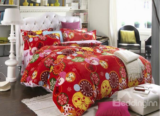 New Arrival Thick Flannel Romantic Christmas Tale 4 Piece Bedding Sets