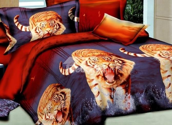 New Tiger Standing On Water 4-Piece Polyester 3d Duvet Cover Sets