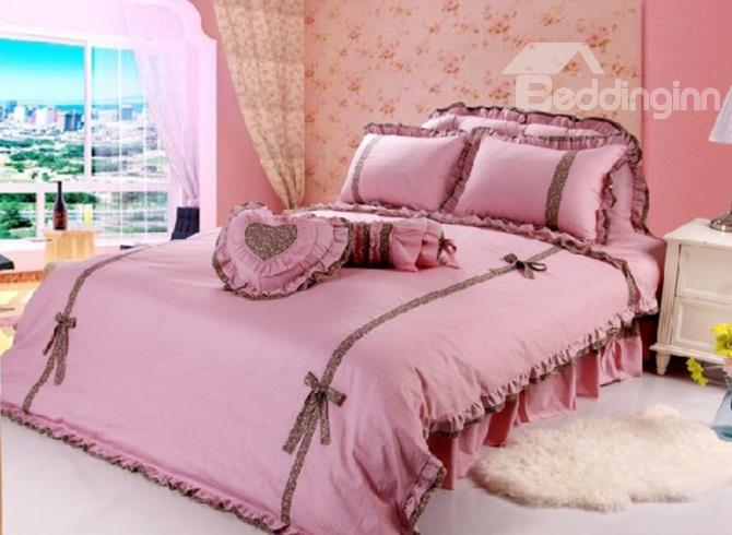 100%High Quality Cotton Princess Style Pink Color 4 Piece Bedding Sets