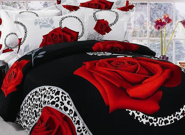 New Arrival Luxury Big Red Roses Print 4 Piece Bedding Sets