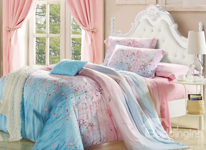 High Quality Gorgeous Floral Patterns 4 Pieces Tencel Bedding Sets