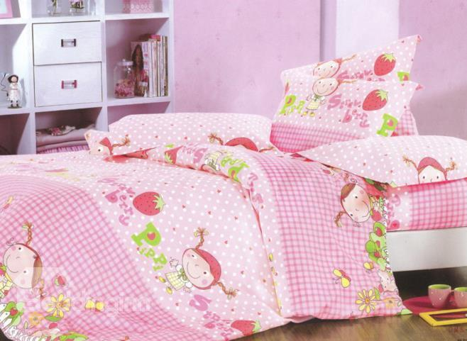 Charming Strawberry Gril Print 4-Piece Cotton Duvet Cover Sets