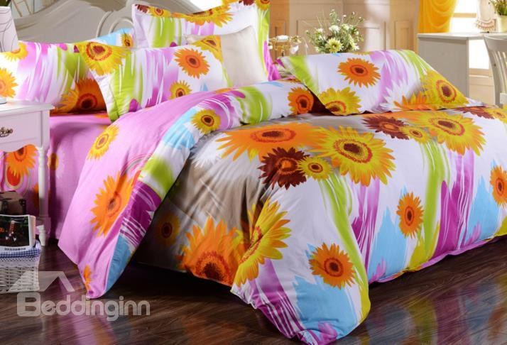 Colorful Sunflower And Water Drawing Brush Print 4-Piece Cotton Duvet Cover Sets
