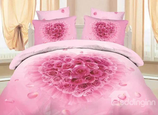 Romantic Pink Rose Print 4-Piece Cotton Duvet Cover Sets