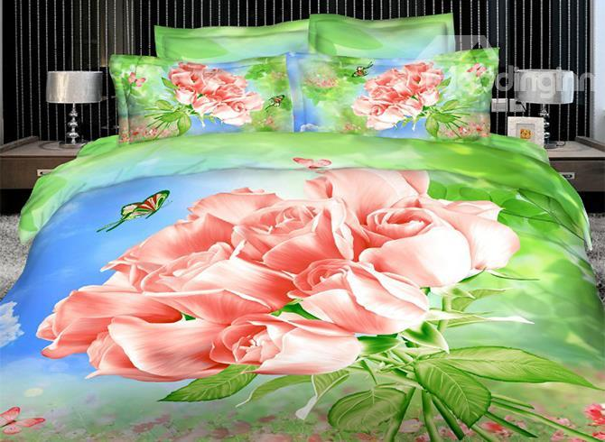 New Arrival Gorgeous Bunch Of Pink Roses 3d Printed 4 Piece Bedding Sets/Duvet Cover Sets