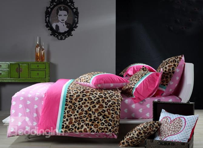 Wild Honey Leopard And Heart Print 4-Piece Cotton Duvet Cover Sets