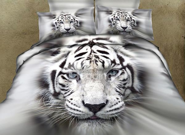 New Arrival 100%Cotton Lifelike White Tiger 3d Printed 4-Piece Bedding Sets/Duvet Cover Sets