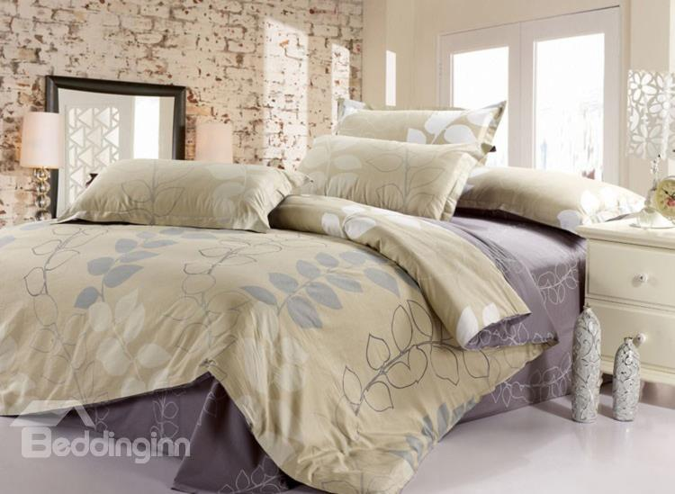 Best Selling Noble Leaves Active Printing 4 Piece Bedding Sets