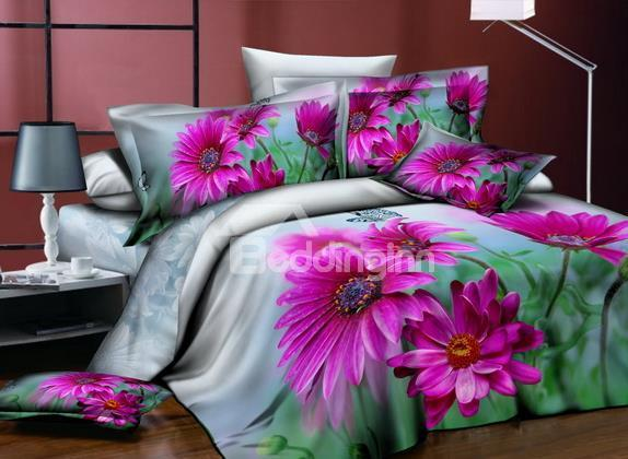 New Arrivals Warm Pink Flowers 4 Pieces Bedding Sets
