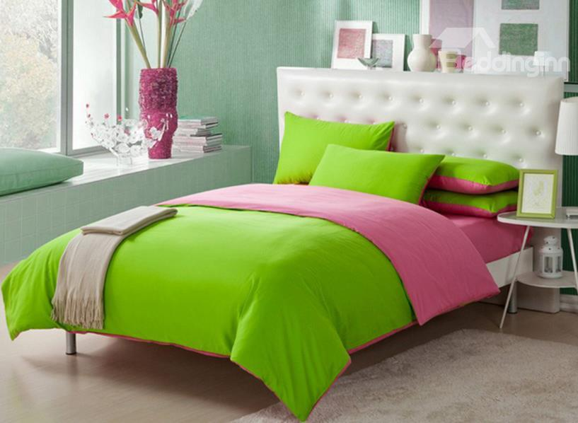 European Simple Style Subtle Two Sorts Color 100%Cotton Queen Size 220*240cm 4 Piece 10505647)