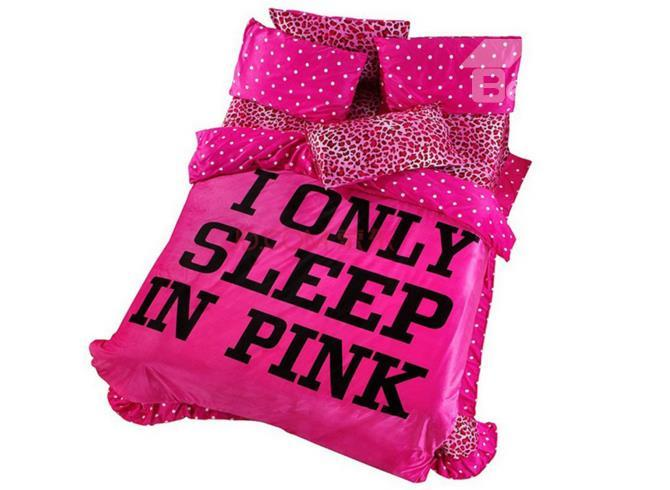 100 Cotton Sexy Pink Leopard Flannel 4 Piece Bedding Sets