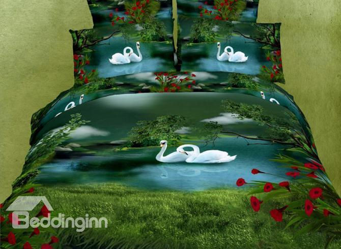 Amazing Green Swan Lake Paint Print With Red Flowers Bedding Sets 10489863)