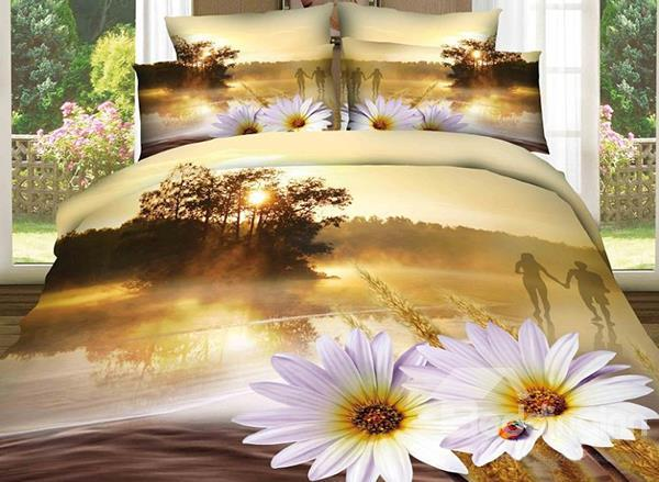 Sunset River And Flower Print 4-Piece 100%Cotton Duvet Cover Sets