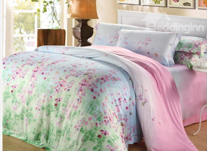 High Quality Pastoral Style Floral Patterns 4 Pieces Tencel Bedding Sets