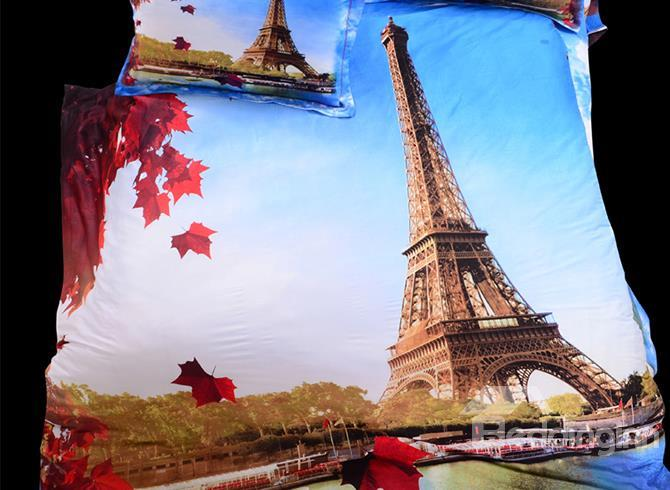 Classic Eiffel Tower In Fall Scene Print 4 Piece Bedding Sets