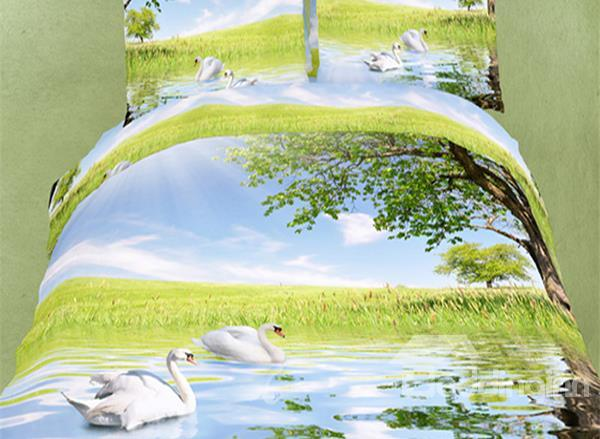 Swan Couple Swimming Under Tree Print 4-Piece Cotton Duvet Cover Sets