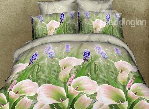 Fresh Calla Lily Print 4-Piece Polyester Duvet Cover Sets