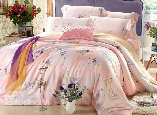 High Quality Comfortable Elegant Floral Print 4 Pieces Tencel Bedding Sets