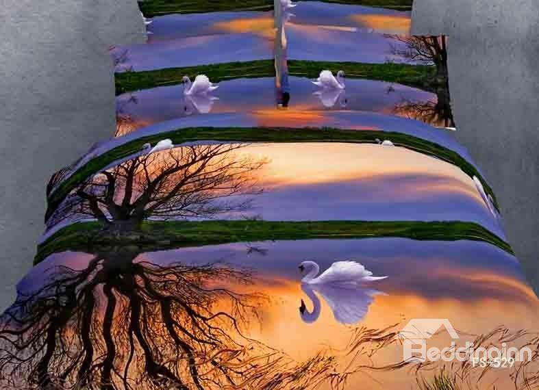 Beautiful And Romantic White Swan Print 4 Piece Bedding Sets/Duvet Cover Sets