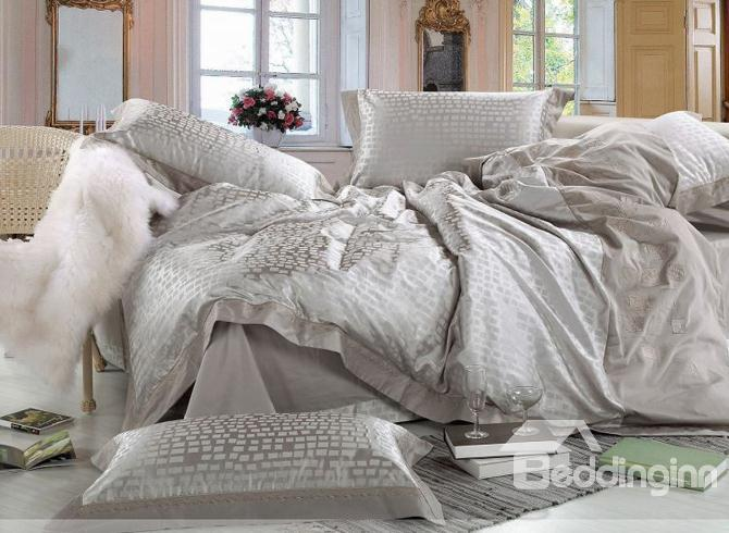 Forever 4 Piece Satin Bedding Sets With Grey Plaid Jacquard 10490269)