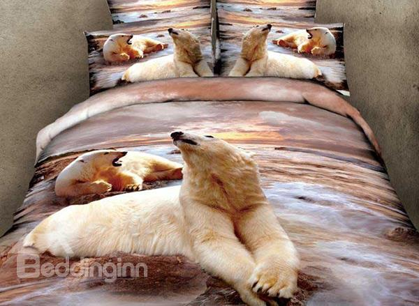 New Arrival Lifelike Polar Bears Print 4 Piece Bedding Sets