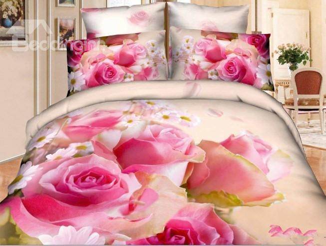 100%Pure Cotton Lovely Little Pink Flowers Print 4 Piece Bedding Sets/Duvet Cover Sets