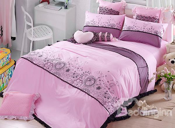 High Quality Flower Print Lace Trimmed Princess 4-Piece Duvet Cover Sets