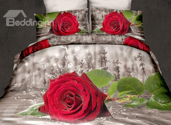 Fresh Red Rose In Water Print 4-Piece Polyester 3d Duvet Cover Sets