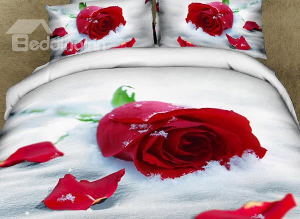 Romantic Red Rose With Snow Print 3d Bedding Sets