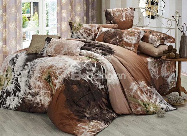 Wonderful Light Brown 4 Piece Cotton Bedding Sets With Dandelion Printing 10486379)