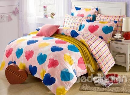 New Arrival Multicolored Hearts Romantic 4-Piece Duvet Cover Sets