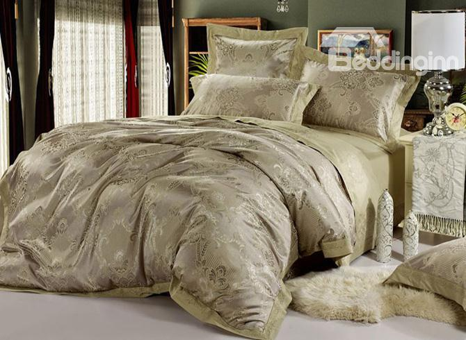 Super Shining Grey Jacquard 4 Piece Satin Bedding Sets With Unique Pattern  10490313)
