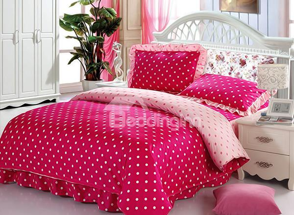 Bright Red Polka Dot Pattern Cotton Duvet Cover Sets