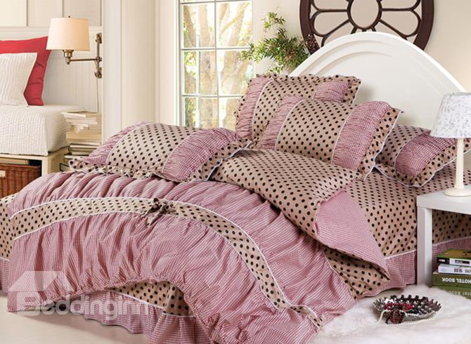 High Quality Checked Dot Bowknot Lace Edge 4 Piece Cotton Bedding Sets