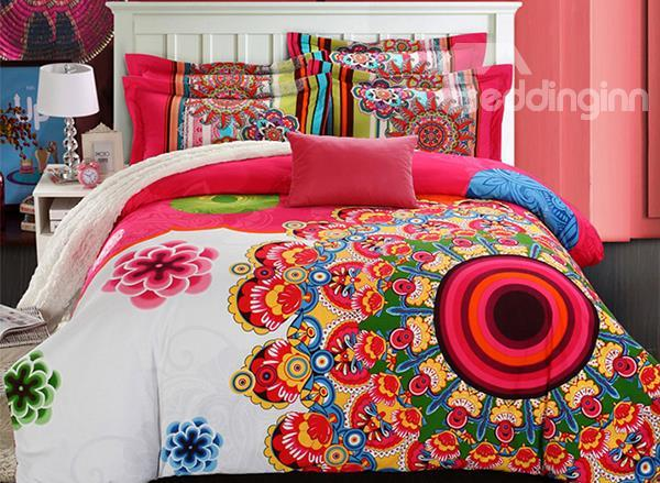 Unique Design Flower Embroidered Cotton Duvet Cover Sets