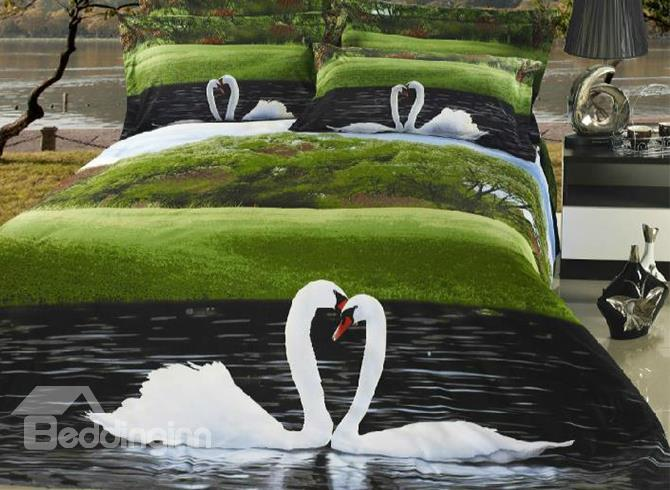 New Arrival High Quality 3d Sweet Swan 4 Piece Bedding Sets/Duvet Cover Sets