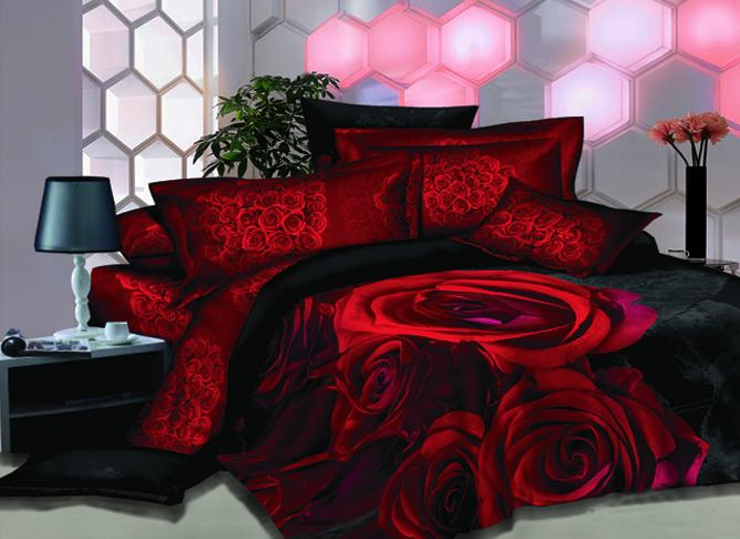 New Arrival Bright Red Rose Printed 4 Piece Bedding Sets