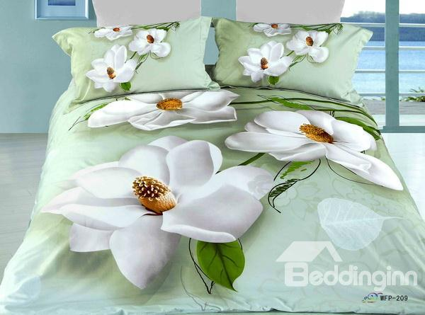 Hot Sell High Quality Printed Perfect White Lotus 4 Pieces Bedding Sets