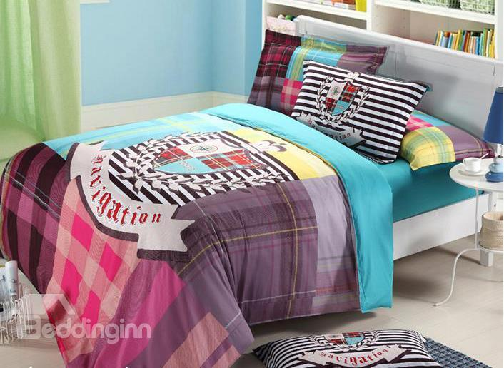 Modern Fashion British Style 4-Piece Cotton Duvet Cover Sets