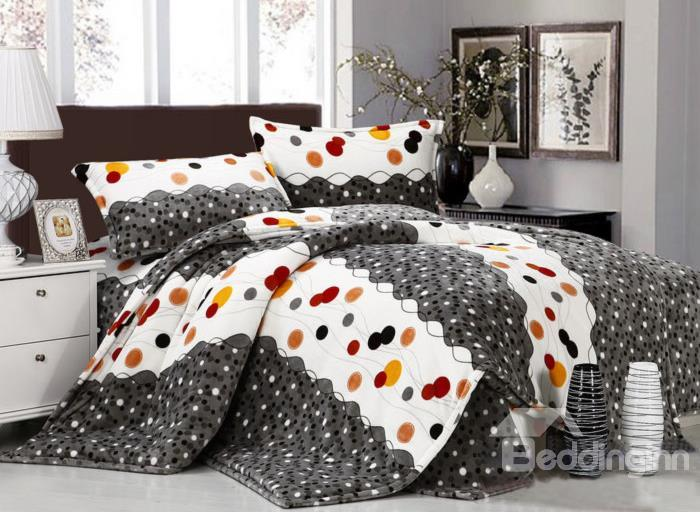 Funny Surper Soft Colorful Wave Dot Print 4-Piece Coral Fleece Duvet Cover Sets