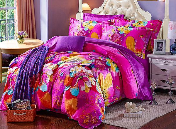 Super Soft Beautiful Flower Print 4-Piece Flannel Duvet Cover Sets