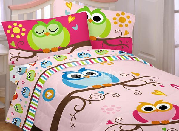 Night Owl Print 4-Piece Cotton Duvet Cover Sets