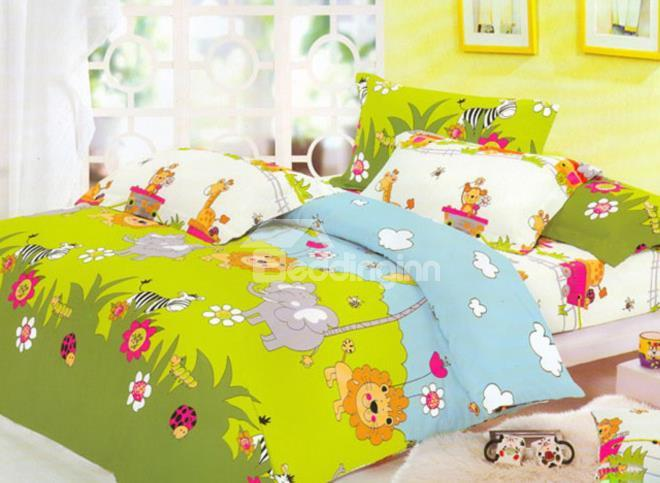 The Animal Party In Forest Print 4-Piece Cotton Duvet Cover Sets
