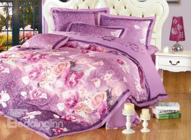 Romantic Purple Flower Print 4-Piece Duvet Cover Sets