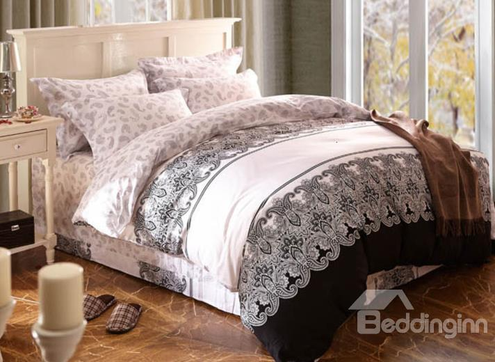 Extraordinary Exotic Floral Pattern Cotton 4-Piece Duvet Cover Sets