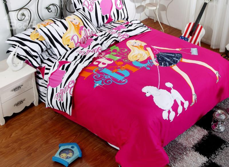 Fashion Girl And Dog Print Zebra Pattern 4-Piece Cotton Duvet Cover Sets