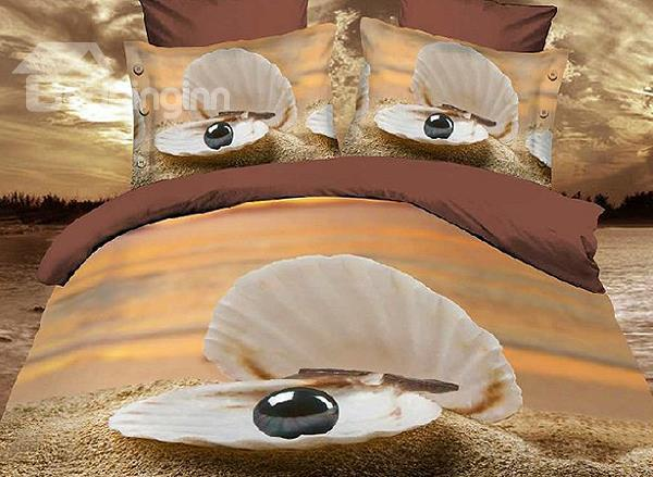 New Arrival Shell With Black Pearl On Beach 3d Print 4 Piece Duvet Cover/Bedding Sets